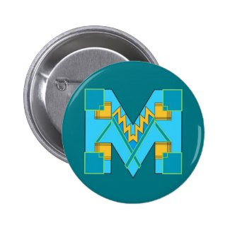 Monogrammed M Art Deco Button