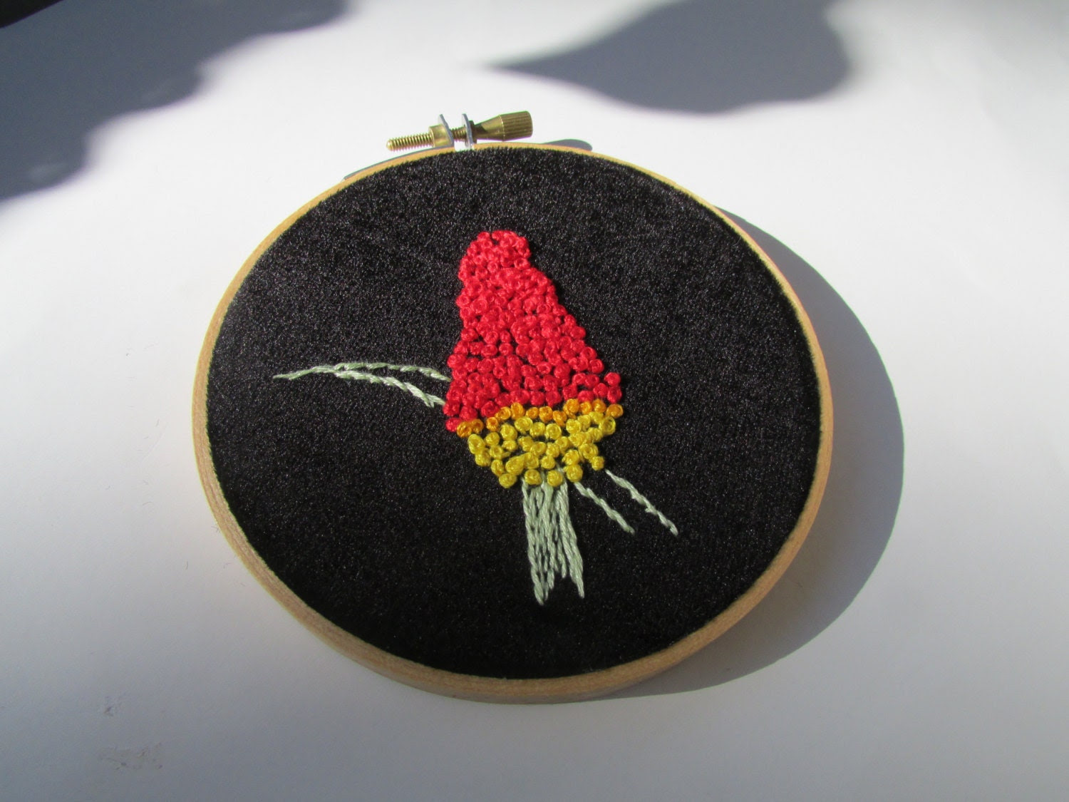 Red Hot Poker ART Embroidery Hoop- aka Torch Lily - AbigailJayneArt