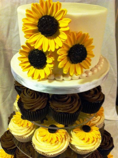 wedding cakes made with sunflower cup cakes   The brown