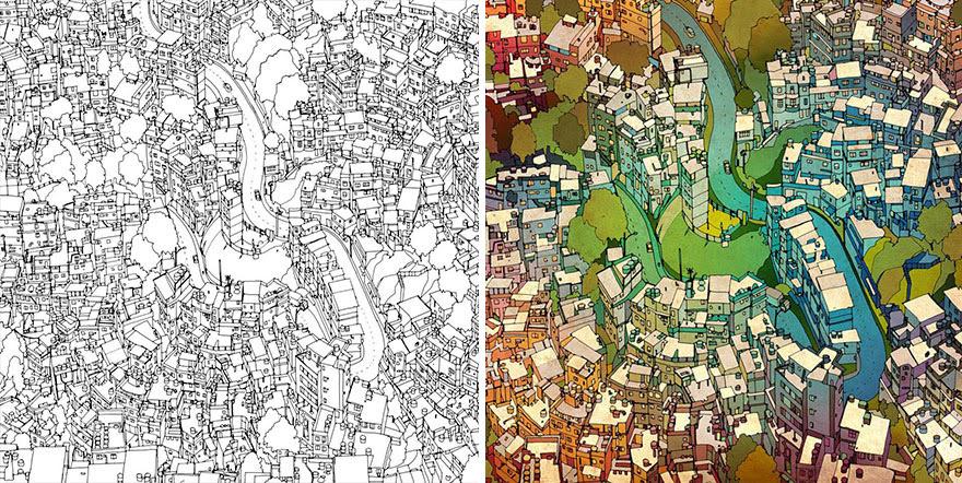 раскраски книга-взрослых-фантастические-города-Стив Макдональд-28