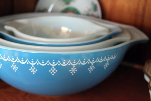 Blue -- thrifted Pyrex