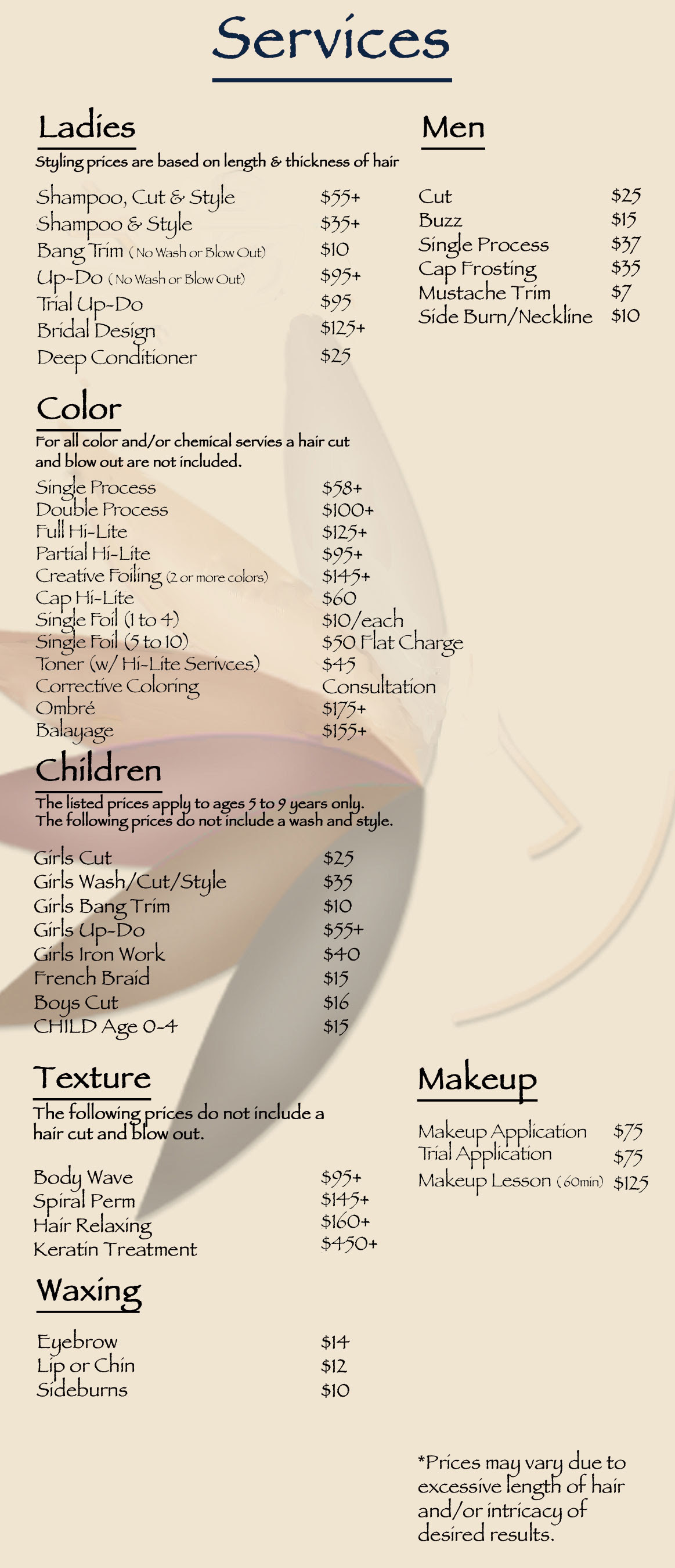 Hair  Salon Makeup  Nails Waxing Hair  Coloring Hair  Stylist