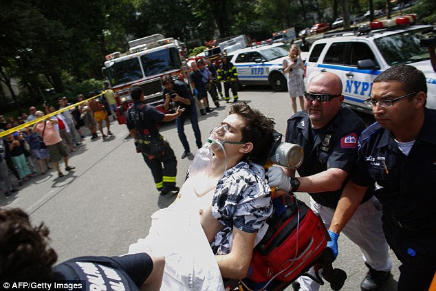 He is seen be taken away on a stretcher by paramedics on the scene. The NYPD is now investigating what caused the blast