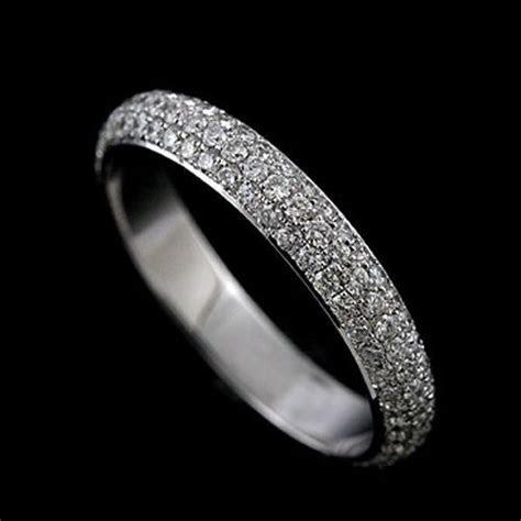 Platinum 3 Row Micro Pave Diamond Eternity Wedding Band