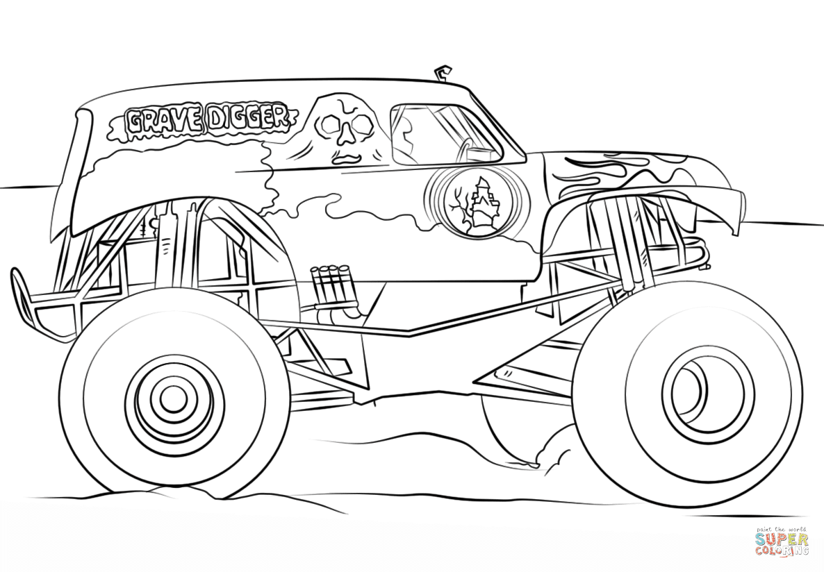 Grave Digger Monster Truck coloring page | Free Printable ...