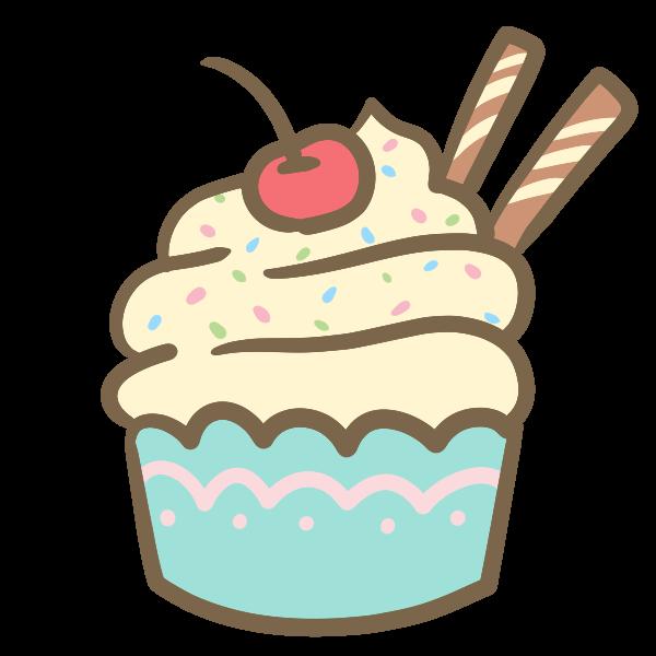 カップケーキ生クリームのイラスト かわいいフリー素材が無料の