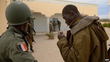 Malian soldiers wearing French insignia during a military operation in the north of the country. France has invaded the West African state amid an African Union summit in Ethiopia. by Pan-African News Wire File Photos