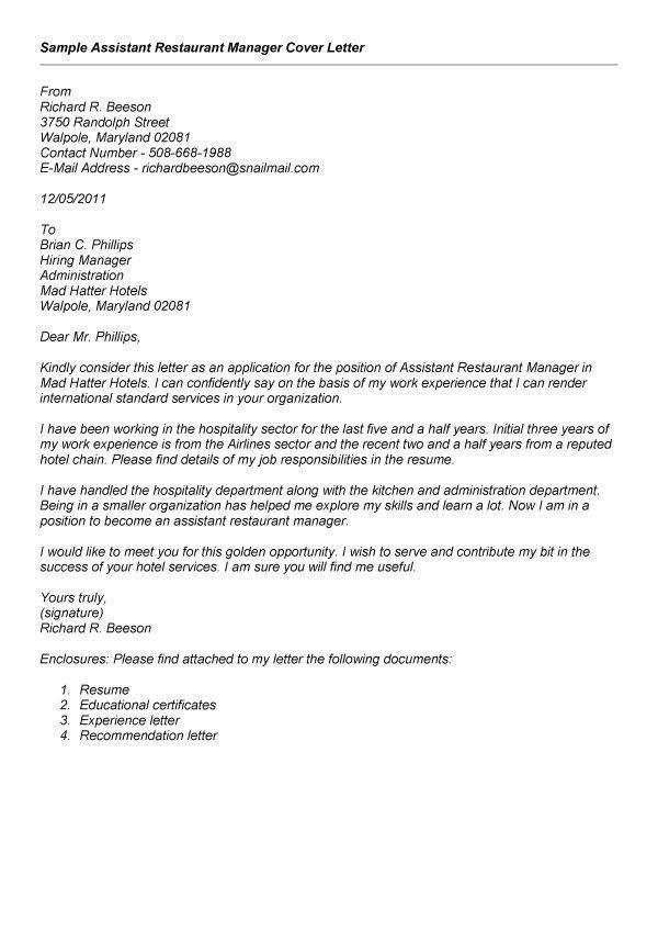 Sle Recommendation Letter For Restaurant Manager Cover