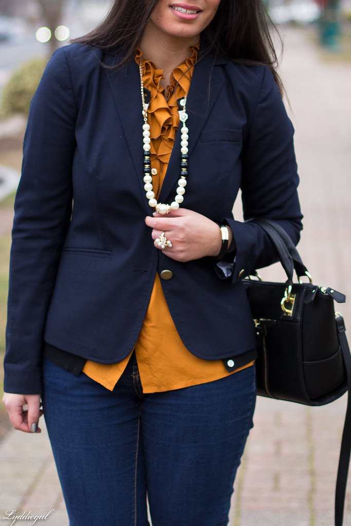 orange ruffled blouse, navy blazer-3.jpg