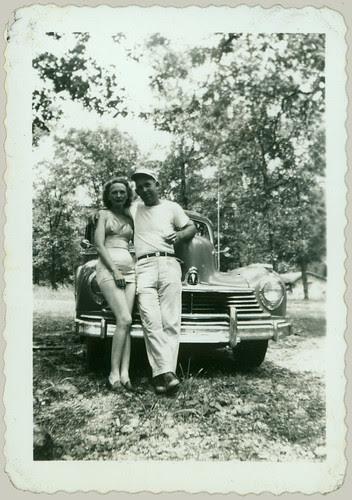 posing at the car