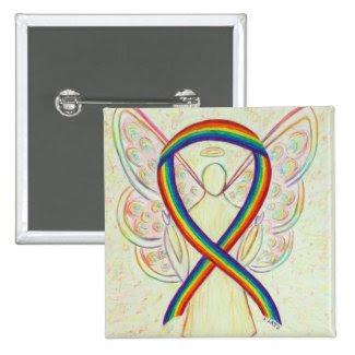 Rainbow Angel Awareness Ribbon Custom Art Pins