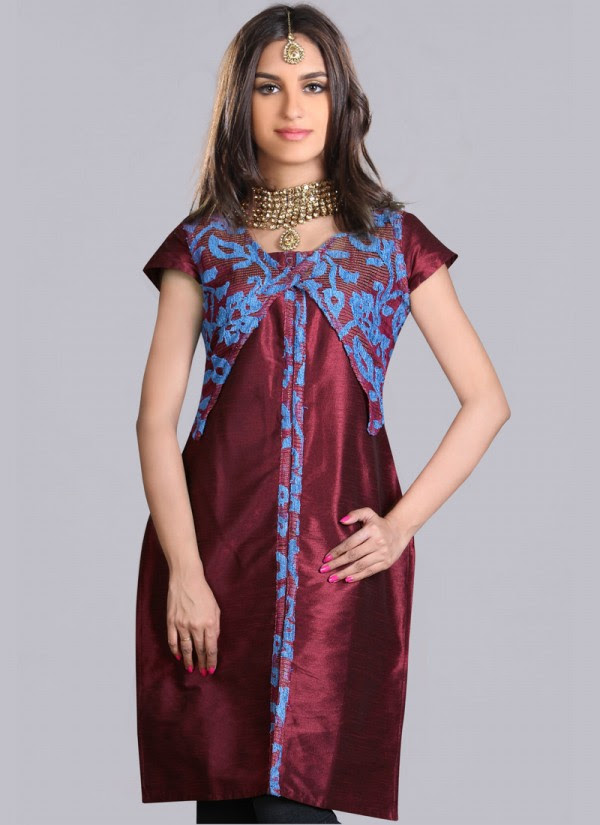 Indian-Trendy-Style-Tunic-Kurti-Designs-2013-Indian-Tunic-Kurti's-Fashionable-Dress-2