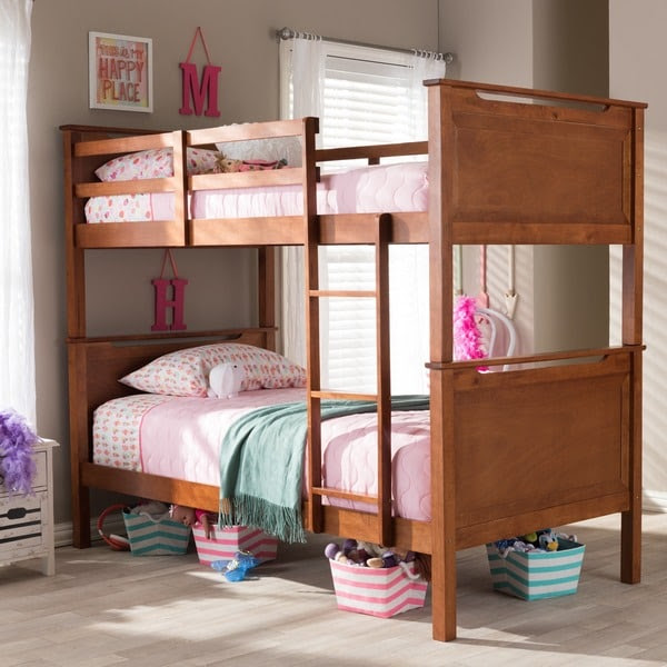 Wexford Wood Contemporary Oak Finish Twin Size Bunk Bed ...