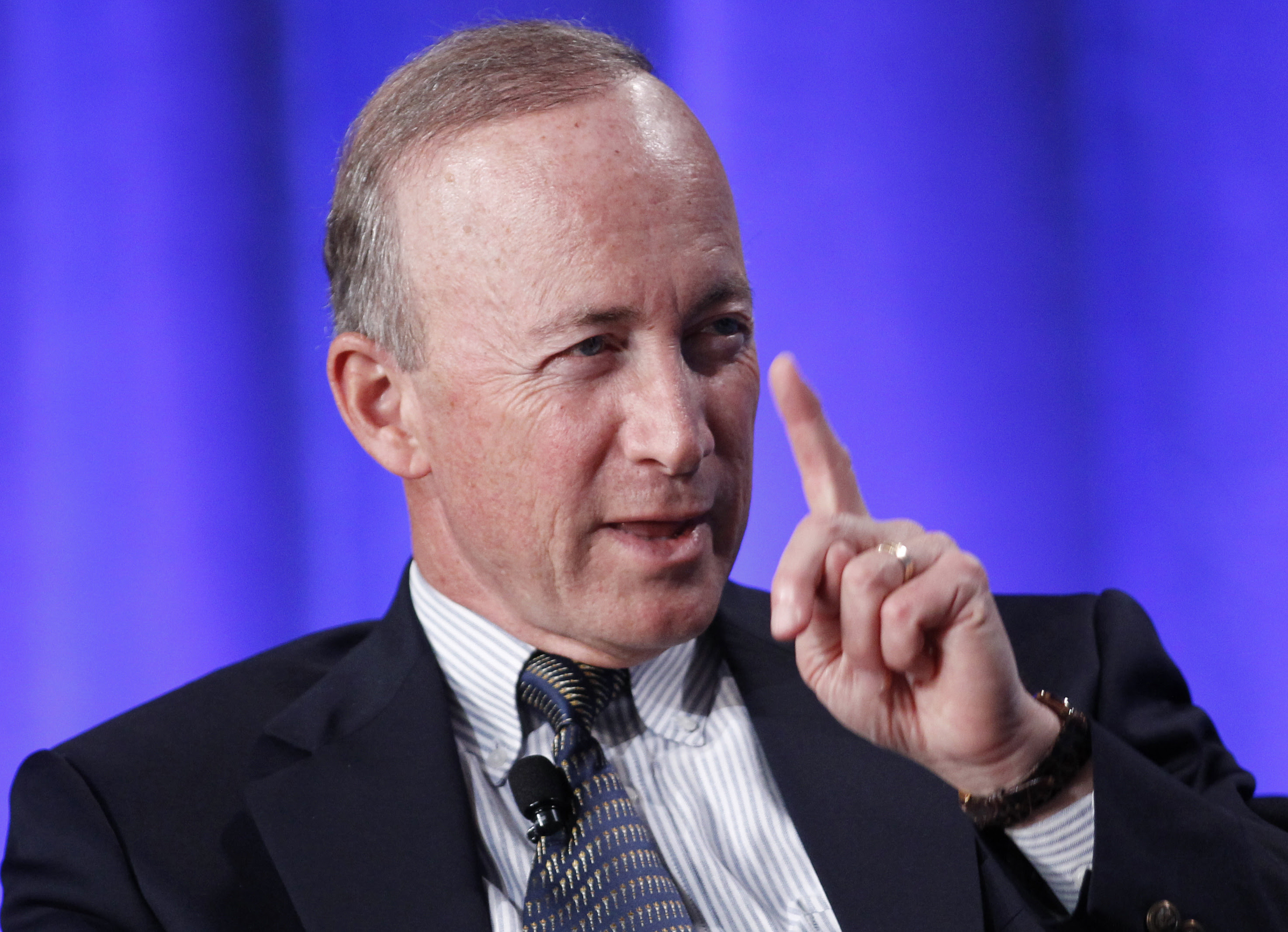 """State of Indiana Governor Mitch Daniels takes part in a panel discussion titled """"Why Wait for Washington? How States Can Create Jobs and Economic Growth"""" at the Milken Institute Global Conference in Beverly Hills, California May 1, 2012. REUTERS/Danny Moloshok"""