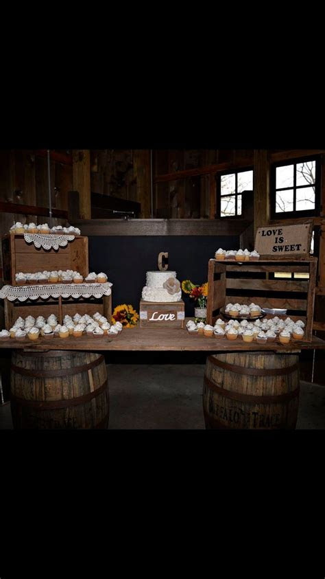 Country Rustic wedding cake display. Crates and barn wood