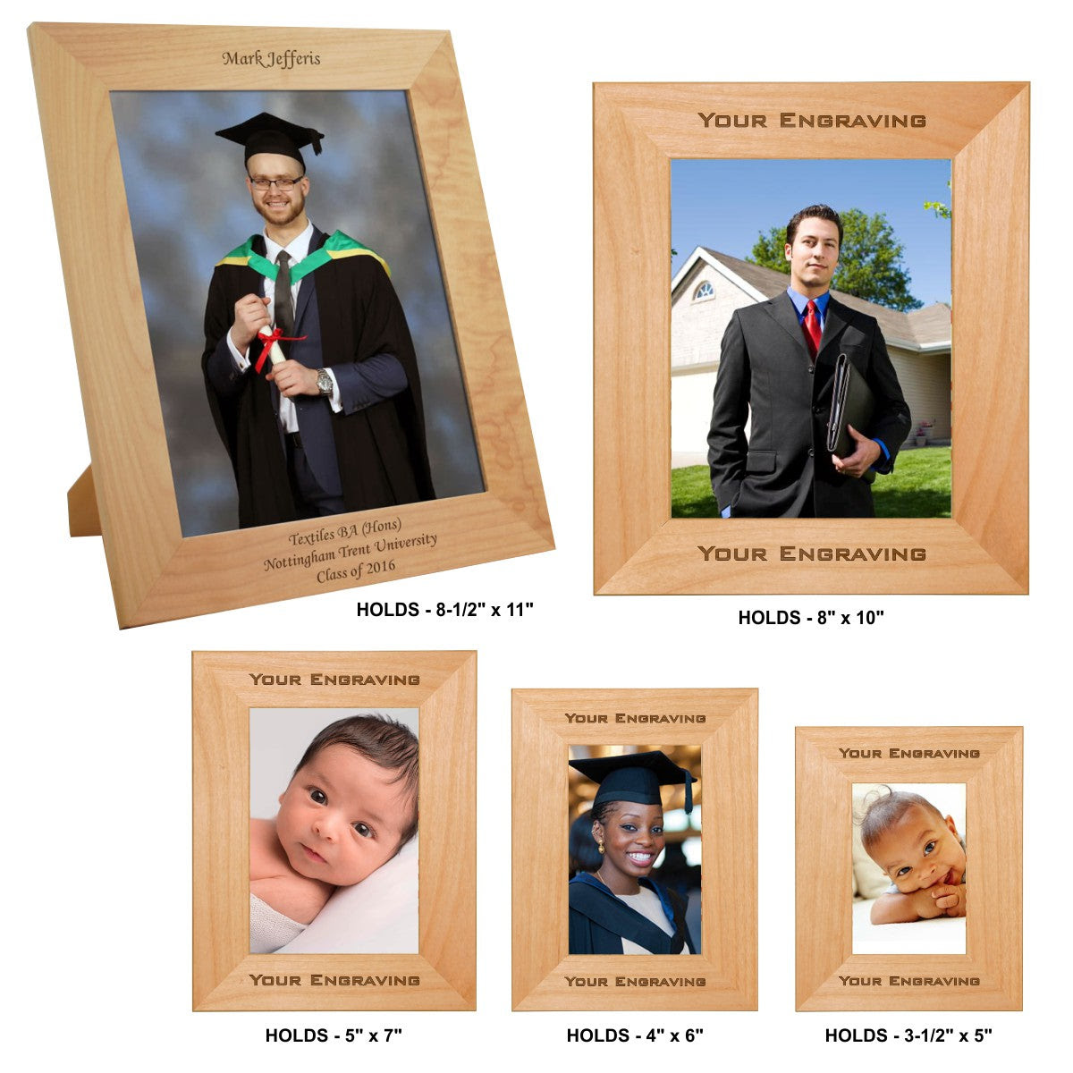 Genuine Red Alder Laser Engraved Photo Picture Frames 5 Sizes