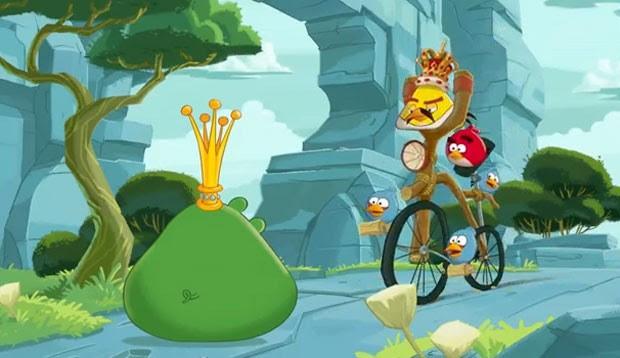 Animação mostra o pássaro Freddie the Angry Bird andando de bicicleta (Foto: Divulgação)
