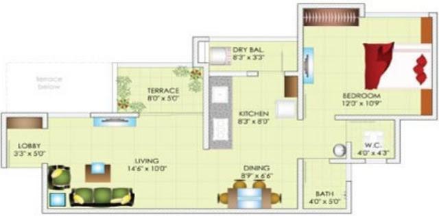 1 BHK Flat, 486 Carpet + 27 Dry Balcony + 40 Terrace, All inclusive Property Price Rs. 28,41,024 at Dreams Avani, 1 BHK & 2 BHK Flats on Shewalewadi Road, near Manjri Stud Farm, off Pune Solapur Highway, at Manjri Budruk Pune, 412 307