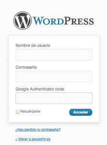 login wordpress Google Authenticator