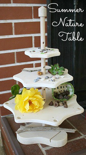 display your kids collections like flowers and pine cones on a nature table