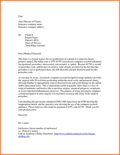 appeal letter insurance company sample template health