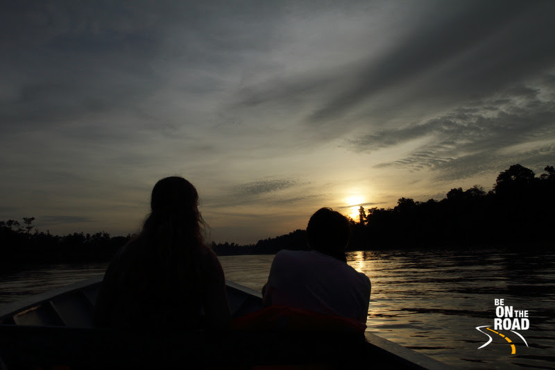 Watching sunset on the Kinabatangan river, Borneo
