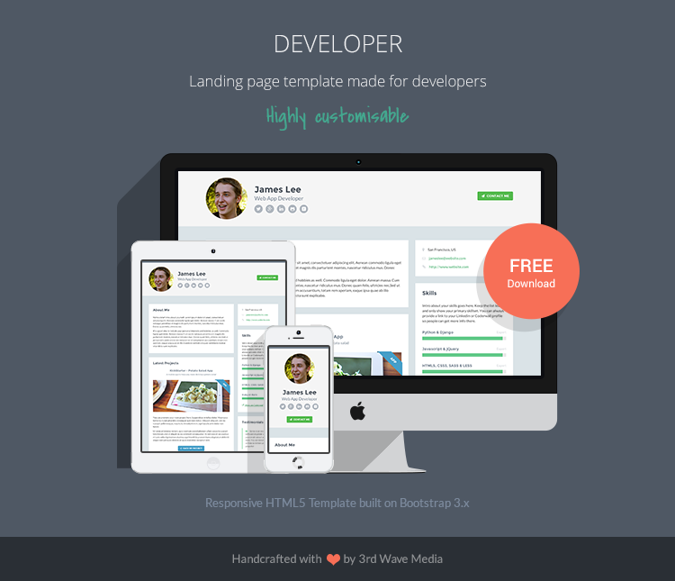 Responsive HTML5 CSS3 Website Template for Developers