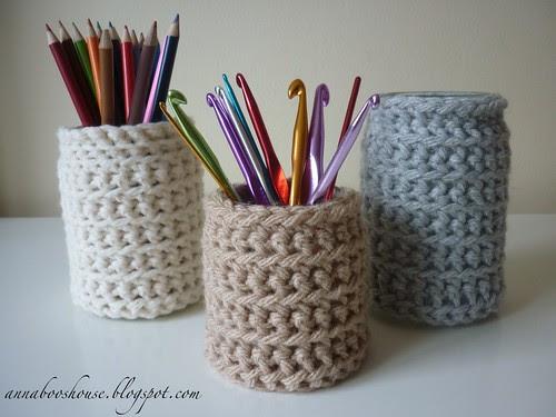 Crochet jam jar cosy
