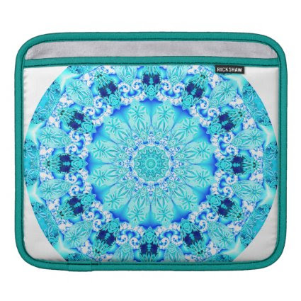 Aqua Lace Mandala, Delicate, Abstract iPad Sleeves
