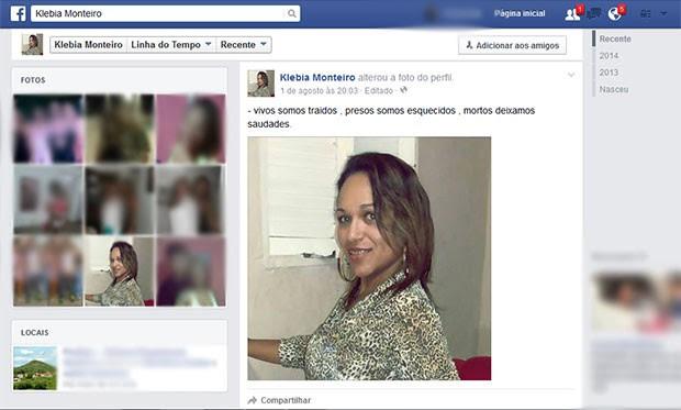 Página que Klébia mantém no Facebook foi atualizada no último sábado, dia 1ºde agosto  (Foto: Reprodução/Facebook)