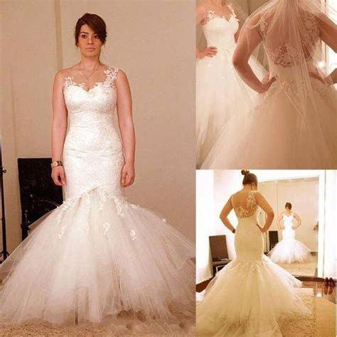 2015 Wedding Dresses Sheer Neckline Appliques Detachable