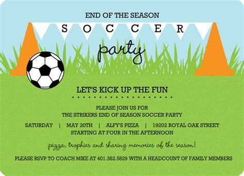 Cones and Flags Soccer Party Invitation Template