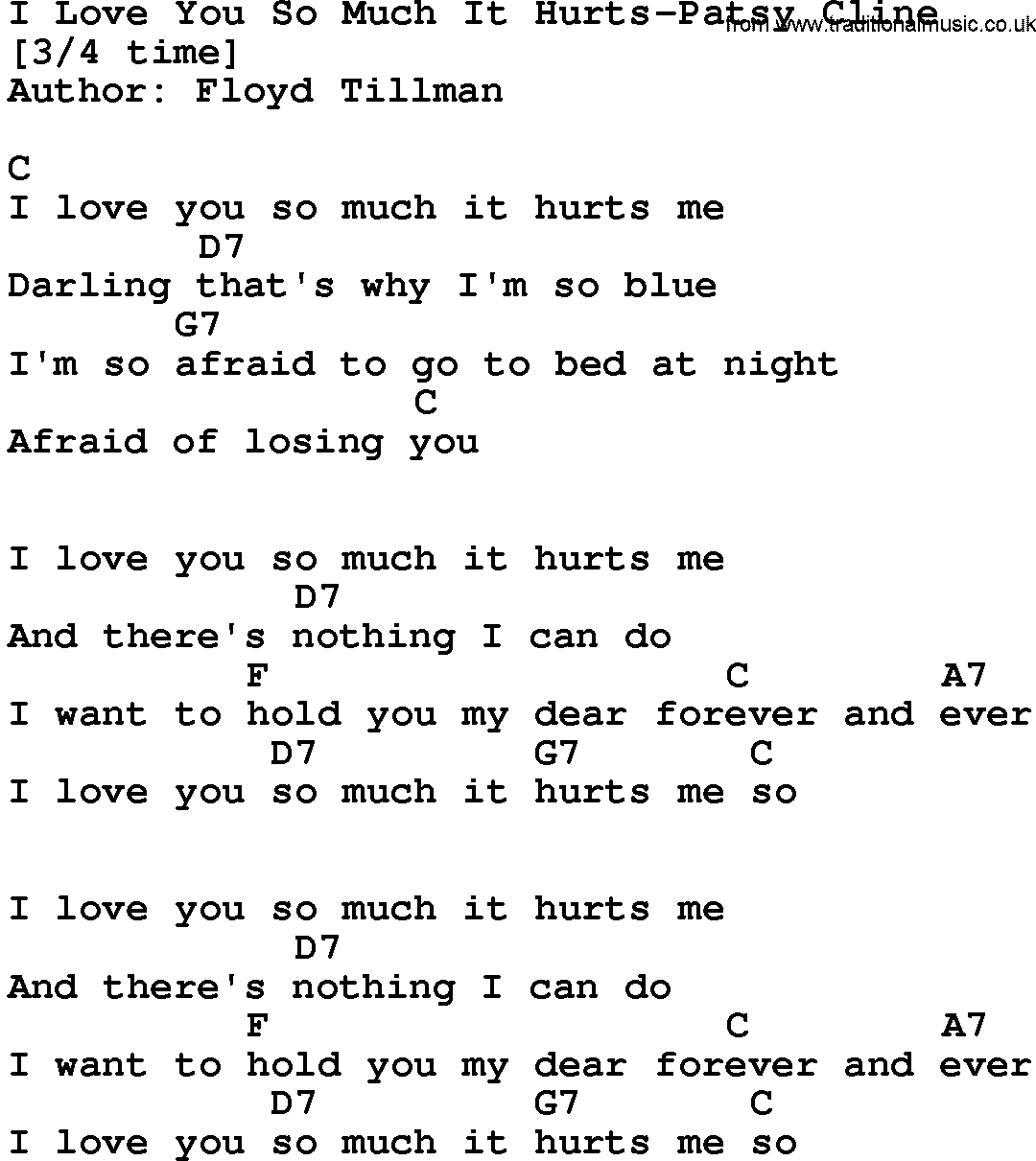Country Musici Love You So Much It Hurts Patsy Cline Lyrics And Chords