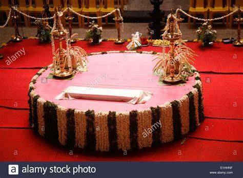 Wedding Stage Decoration with flowers in Hindu, christian
