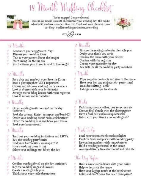 Ivy Ellen's 18 Month Wedding Checklist   great to print