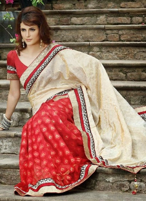 Beautiful-Girls-Women-Wear-Christmas-Exclusive-Saree-Dress-New-Fashion-Red-Suits-Design-2