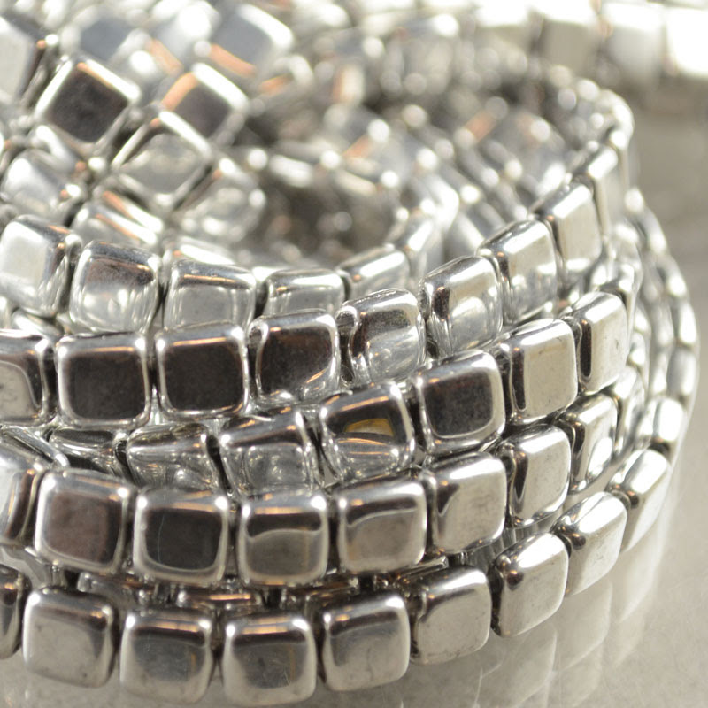 s38100 Glass - 6 mm Czechmates Tile Beads - Metallic Silver (50)
