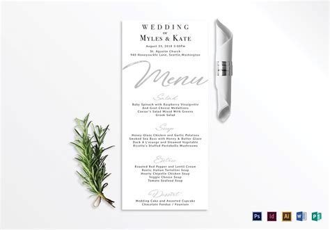 Wedding Menu Card Design Template in PSD, Word, Publisher
