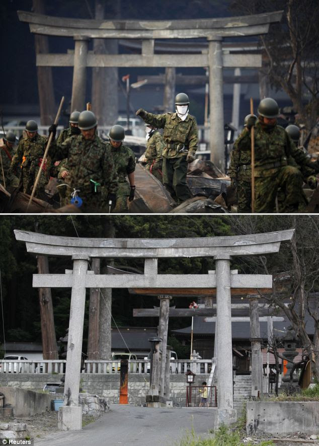 On March 14, rescuers were seen searching through the rubble in front of a Shinto shrine in Ostuchi, but now the area is cleared of debris