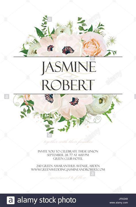 Wedding Invitation, invite card Design with Rose Anemone