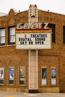 Marquee at Goetz Theatre, Monroe, Green County, Wisconsin