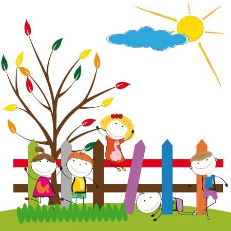 Renkli çit küçük ve mutlu çocuklar Stok Fotoğraf - 17917777