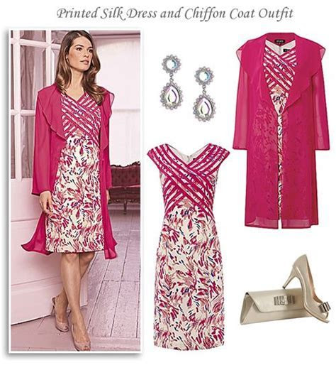 Silk Print Dress and Pink Chiffon Coat Occasion Outfit