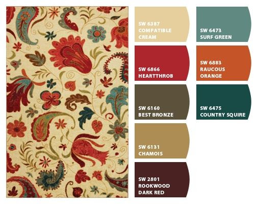 Paint colors from Chip It! by Sherwin-Williams -- Possible color palette for half bath based on Strata Tropical Acres Ivory Rug from rugsusa.com  http://www.rugsusa.com/rugsusa/rugs/mohawk-select-tropical-acres/ivory/1255811058013-508.html