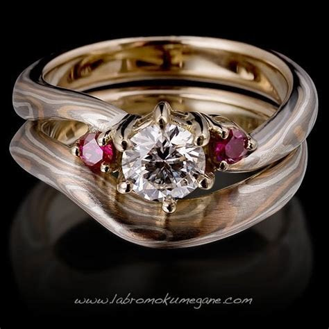Aeris pair of mokume gane wedding and engagement ring