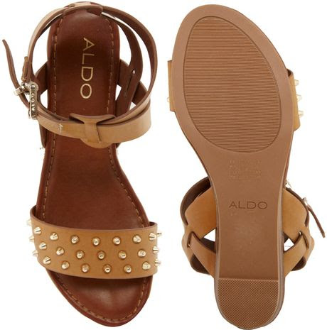c7c4b7ee97e Aldo Bueckers Studded Tan Flat Sandals in Brown (Tan)