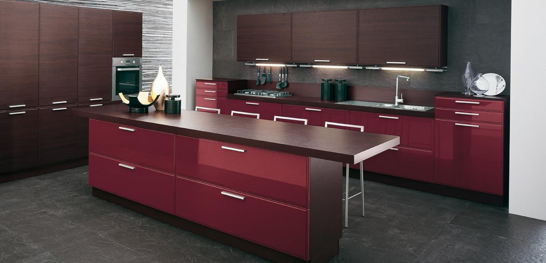 | Burgundy brown kitchenInterior Design Ideas.