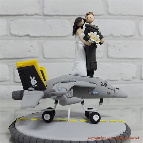 F18 fighter pilot combat plane custom wedding cake topper