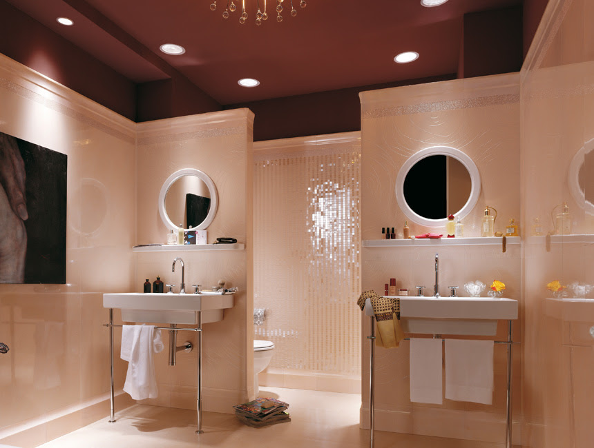 Sectioned bathroom layout | Interior Design Ideas.