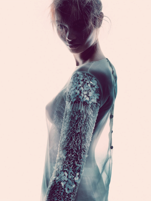 LE FASHION BLOG EDITORIALS SPRING SUMMER SHEER TREND ELLE SWEDEN SHEER TRANSPARENT WHITE EMBELLISHED SLEEVE DRESS Varljus Moa Aberg By Andreas Sjoden Elle Sweden Summer 2013 Stylist Styled by Lisa Lindqwister Hair Rudi Lewis Makeup Ignacio Alonso 3
